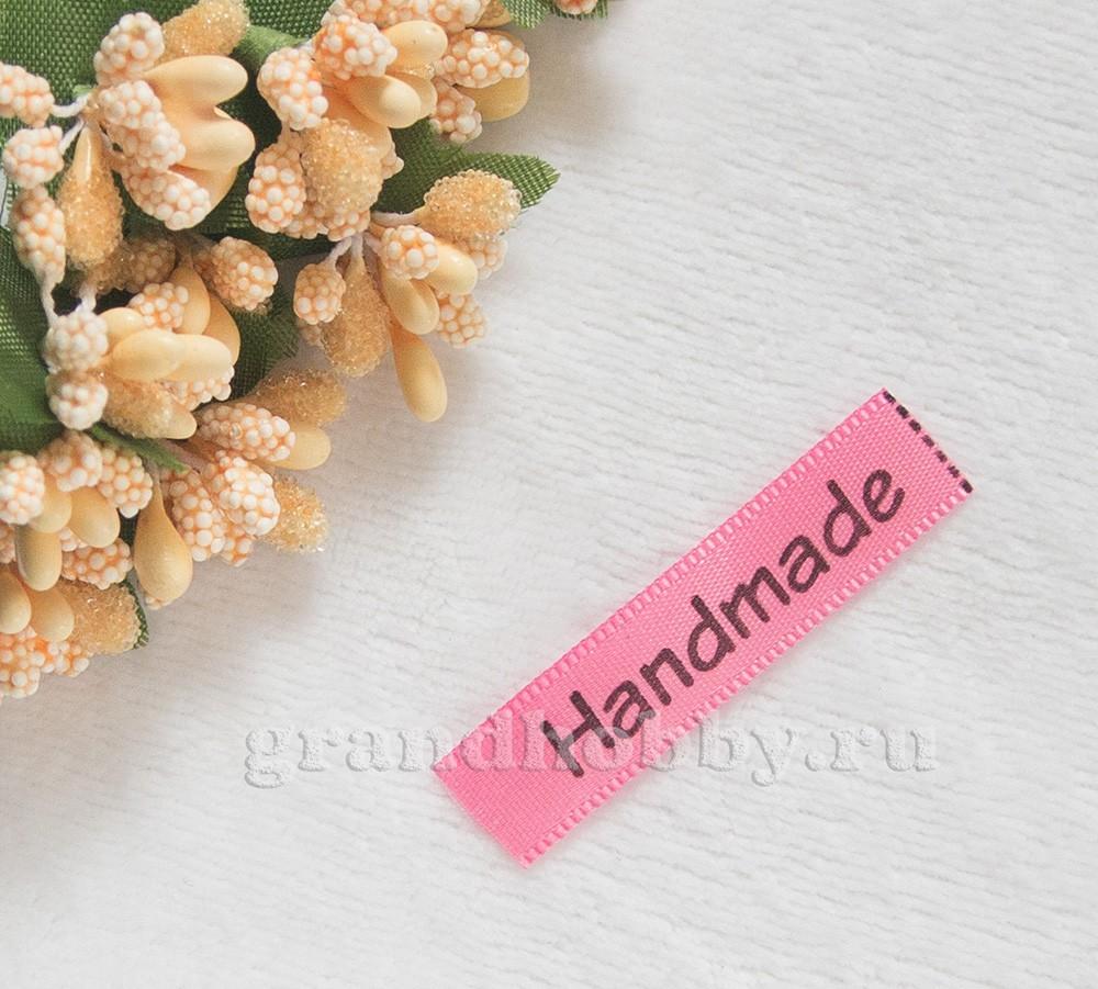 Лента Handmade темно розовый 45*10мм/1м