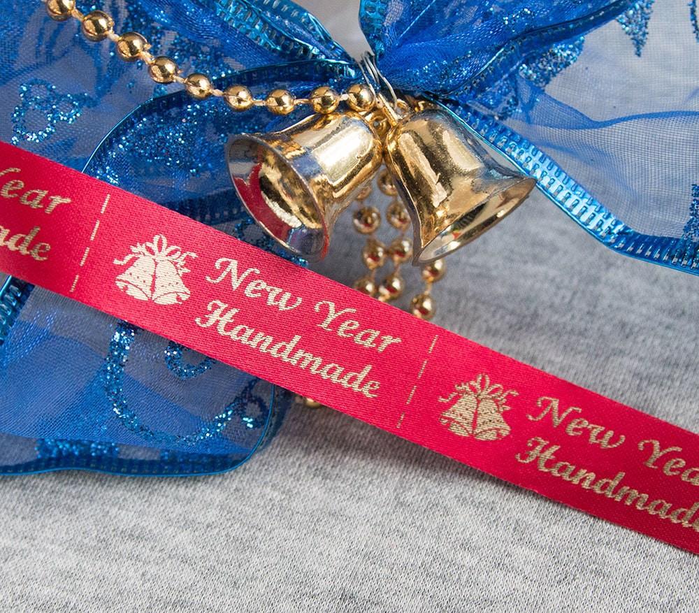 ТОЛЬКО У НАС! Лента ХМ новогодняя красный+золото 15*45мм/1м
