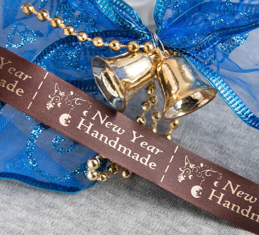 ТОЛЬКО У НАС! Лента ХМ новогодняя коричневый+золото 15*45мм/1м