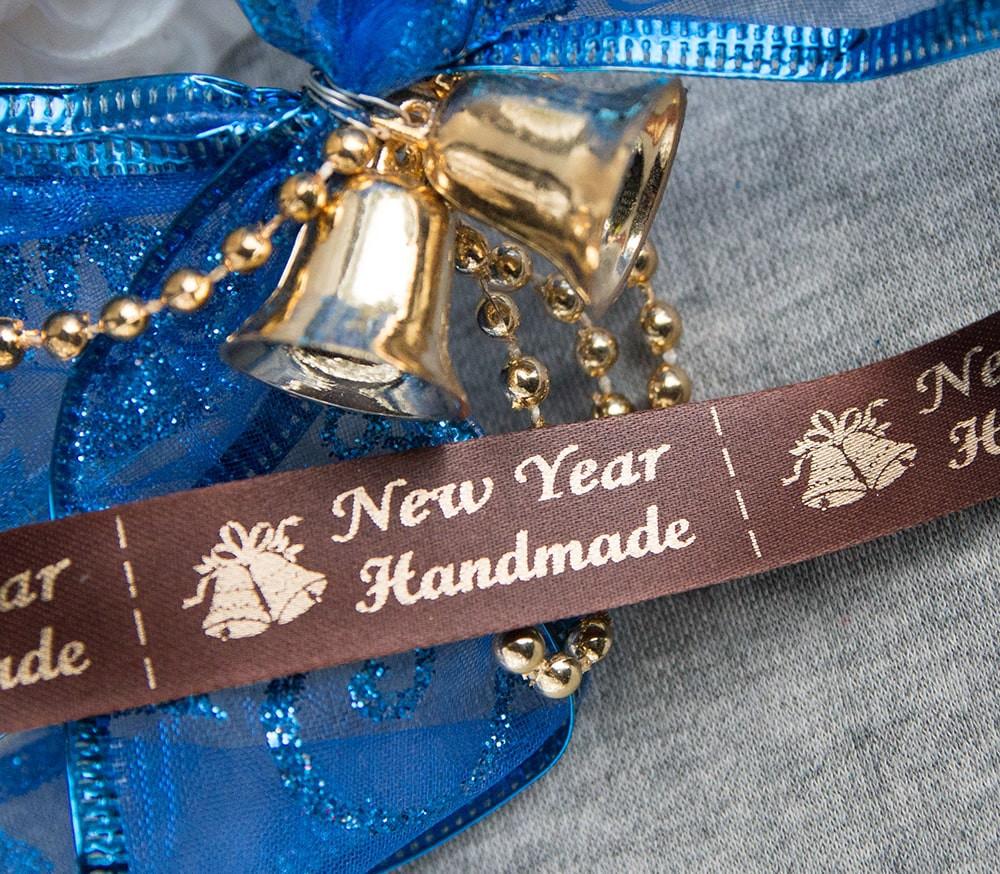 ТОЛЬКО У НАС! Лента ХМ новогодняя коричневый+золото 10шт