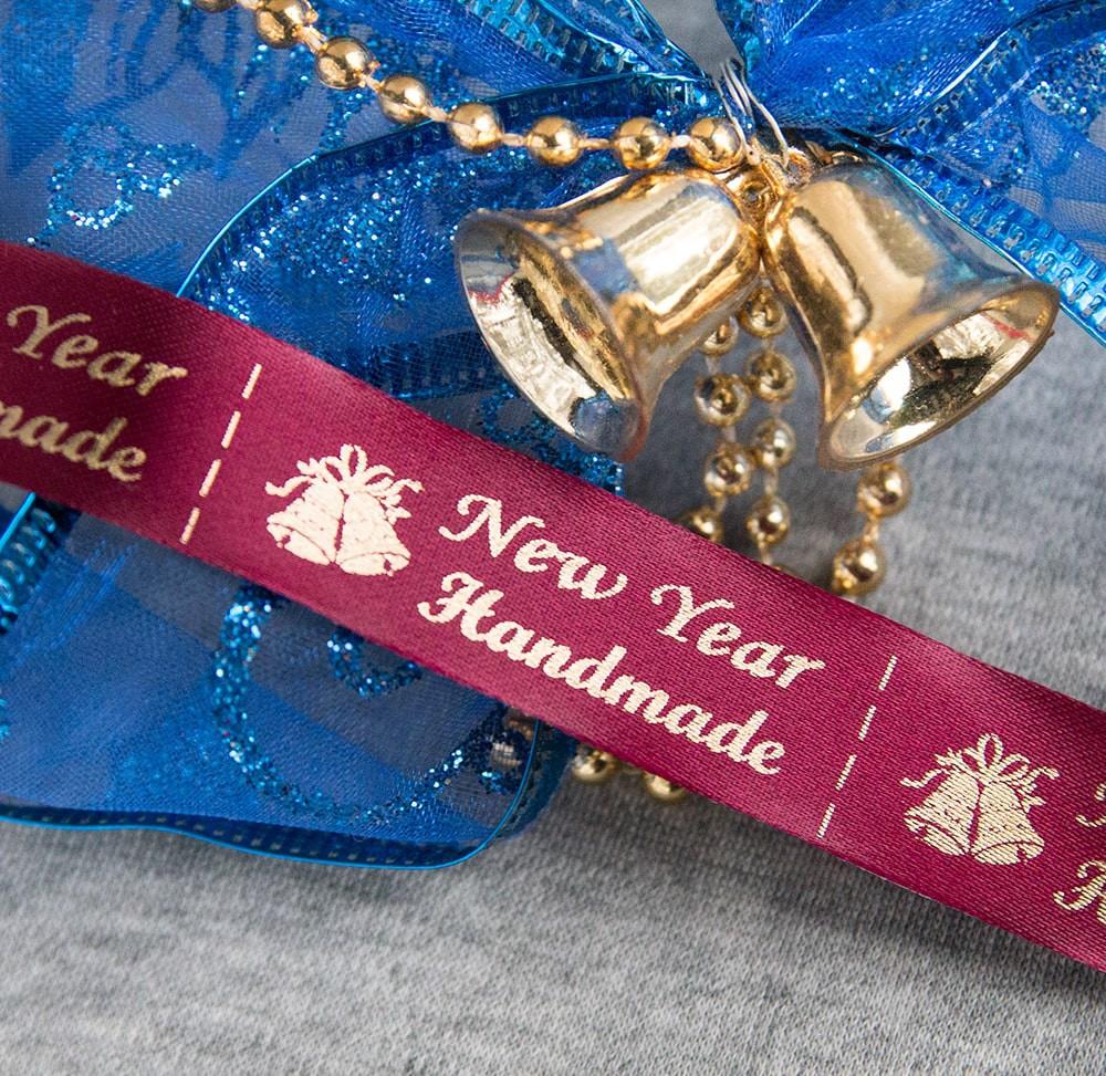 ТОЛЬКО У НАС! Лента ХМ новогодняя бордо+золото 10шт