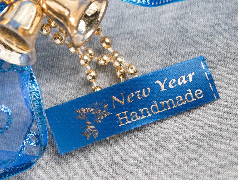 ТОЛЬКО У НАС! Лента ХМ новогодняя синий+золото 15*45мм/1м