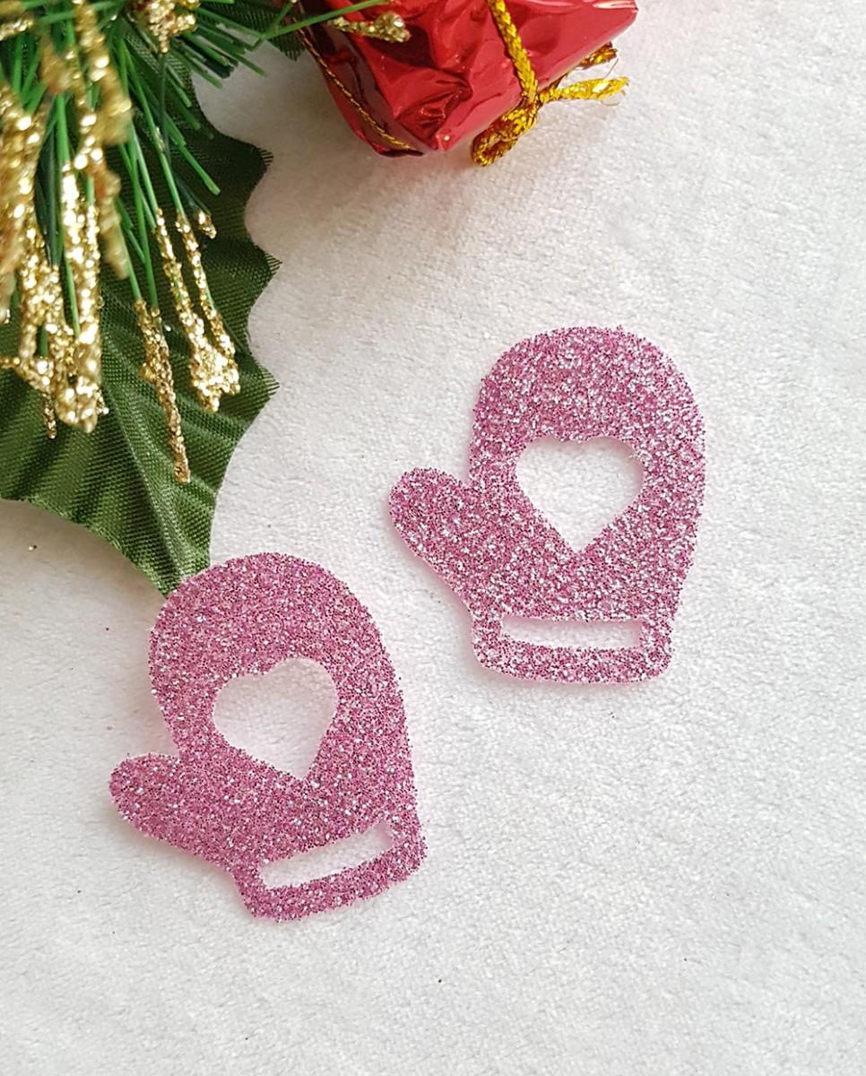 Рукавичка светло-розовый из тонкого блестящего материала 36*31,6мм