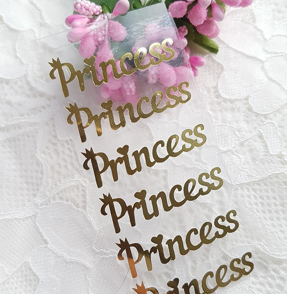 "Надпись ""Принцесса""  термотрансфер золото 3,5*1 см за 1 шт"