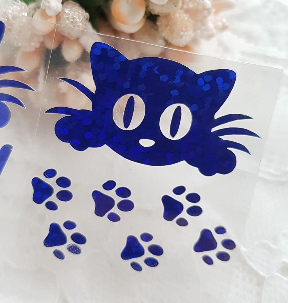 Кошечка термотрансфер +/-35*35мм голограмма синий