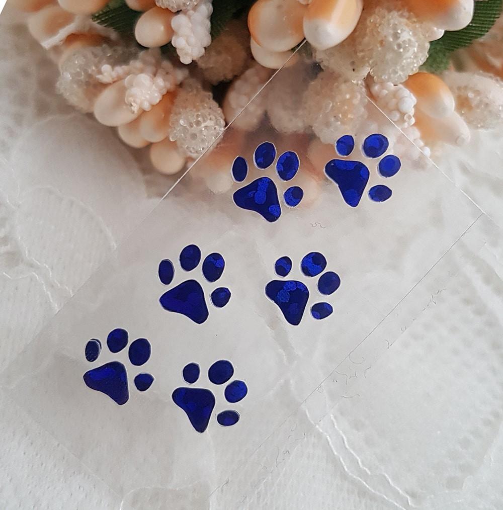 Кошачьи лапки наклейка термотрансфер голограмма синий 3,5*1,5 см