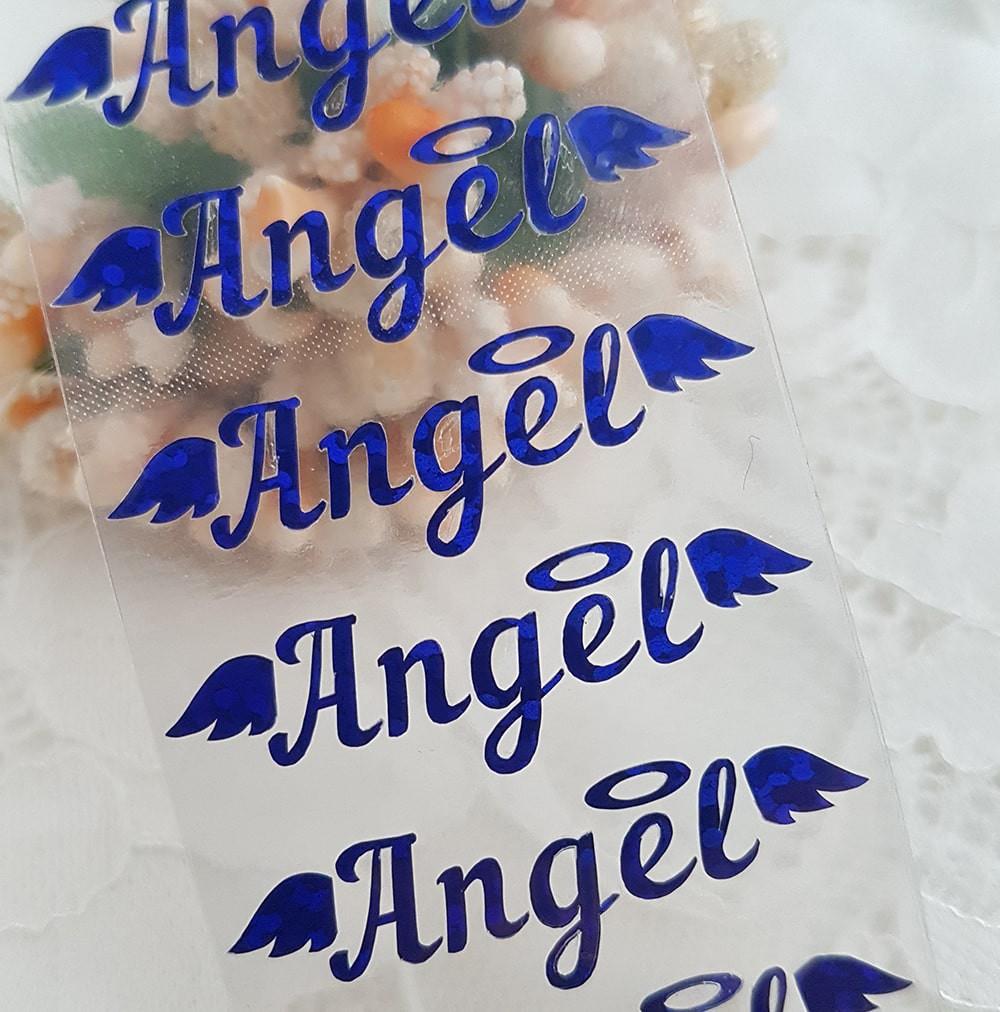 """Надпись """"Ангел"""" термотрансферная наклейка голограмма синий 1 3,5*1см"""