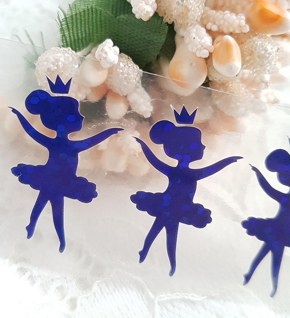 Балерина термотрансферная наклейка голограмма синий 1шт 25*15мм