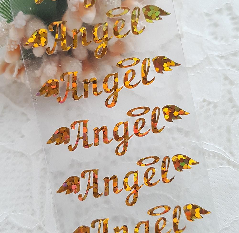 """Надпись """"Ангел"""" термотрансферная наклейка голограмма золото 1  3,5*1см"""