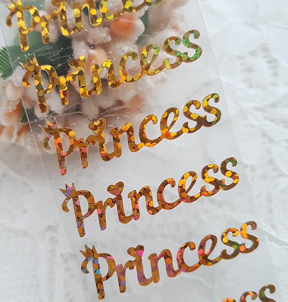 """Надпись """"Принцесса"""" термотрансфер наклейка голограмма золото    3,5*1см"""