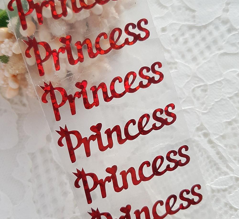 """Надпись """"Принцесса""""  термотрансфер голограмма красный 3,5*1 см за 1 шт"""