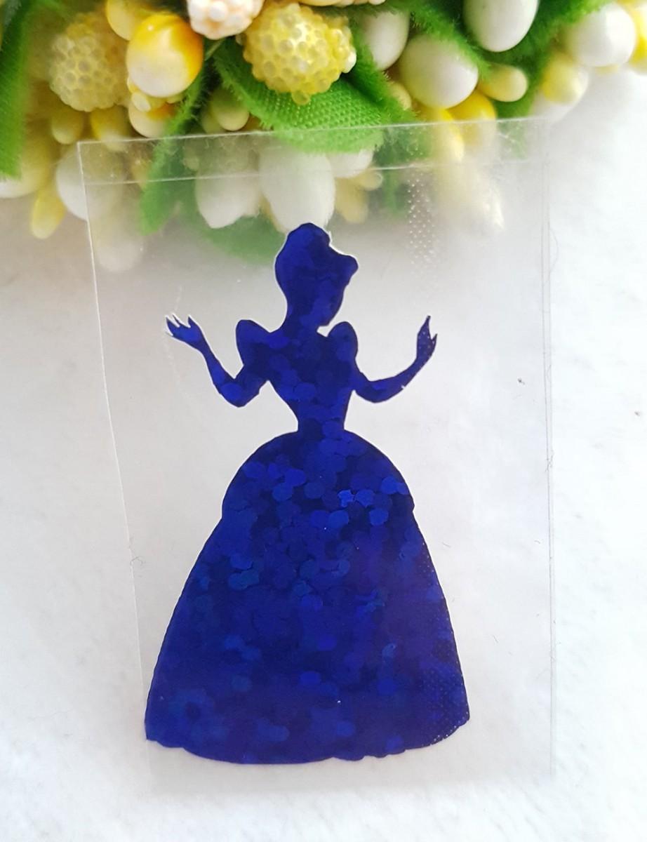 Принцесса термотрансферная наклейка голограмма 1шт 20*34мм  синий
