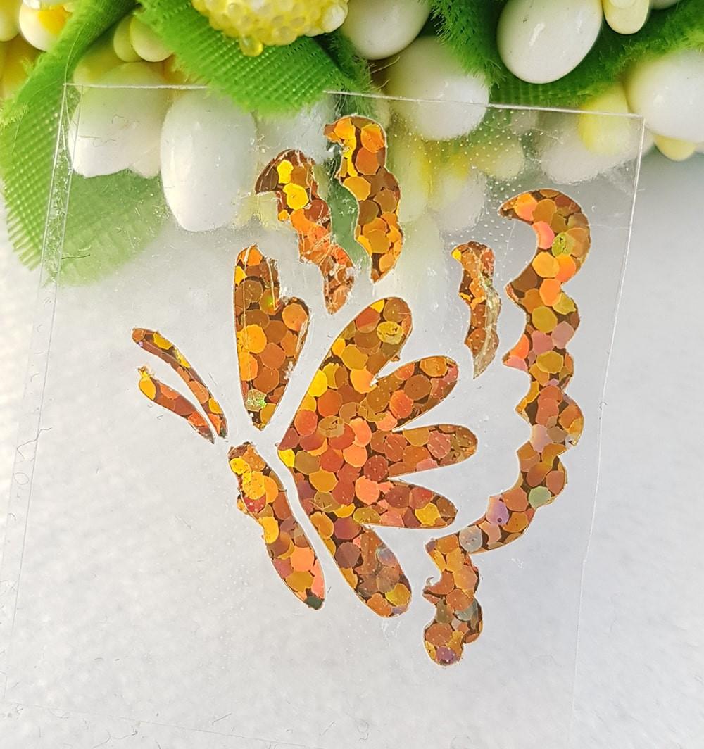 Бабочка термотрансферная наклейка голограмма 1шт +/-20*23мм золото