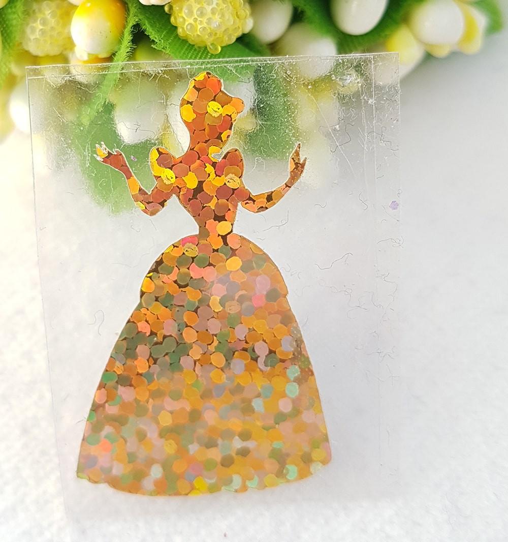 Принцесса термотрансферная наклейка голограмма 1шт 20*34мм золото