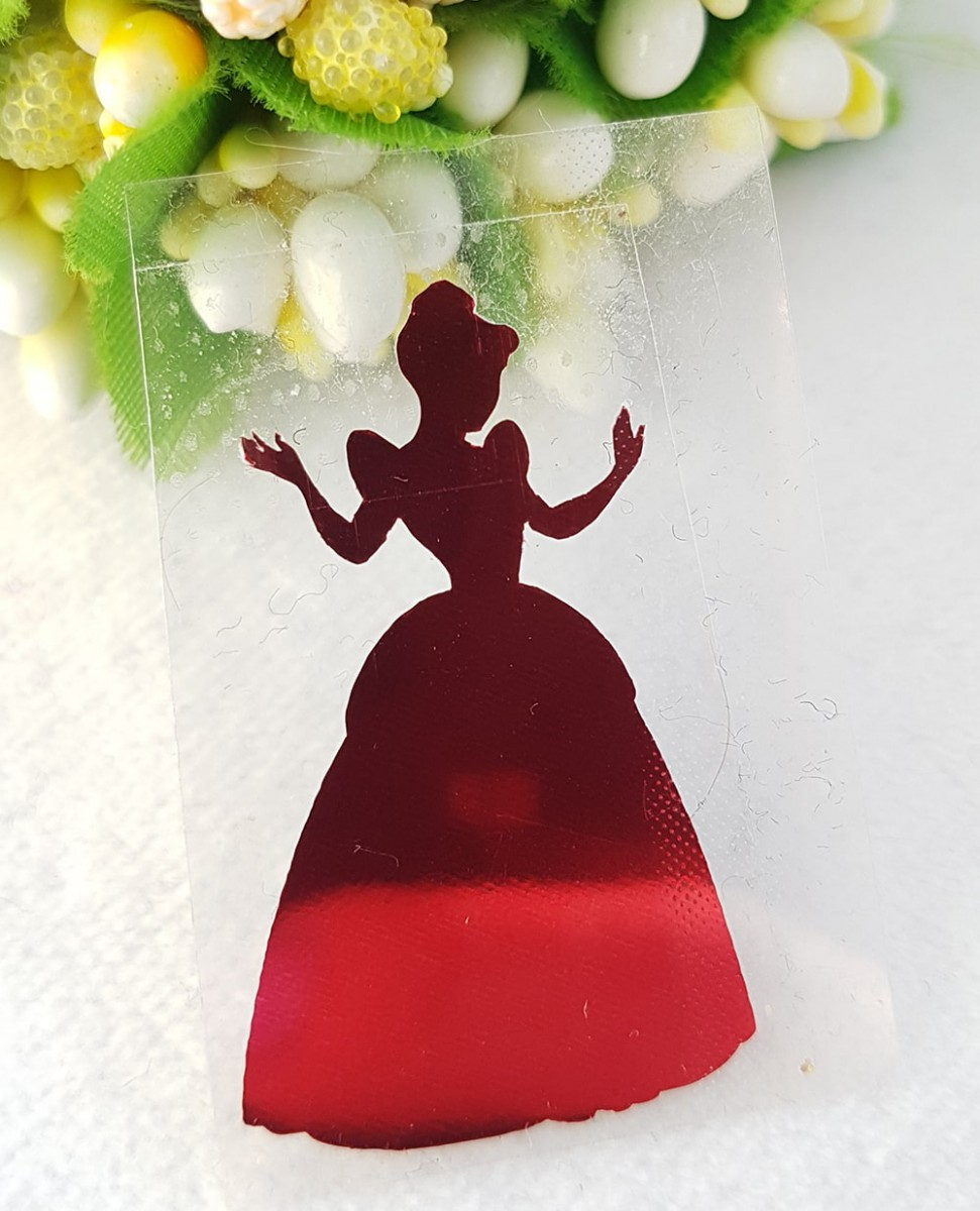 Принцесса термотрансферная наклейка голограмма 1шт 20*34мм красный металлик