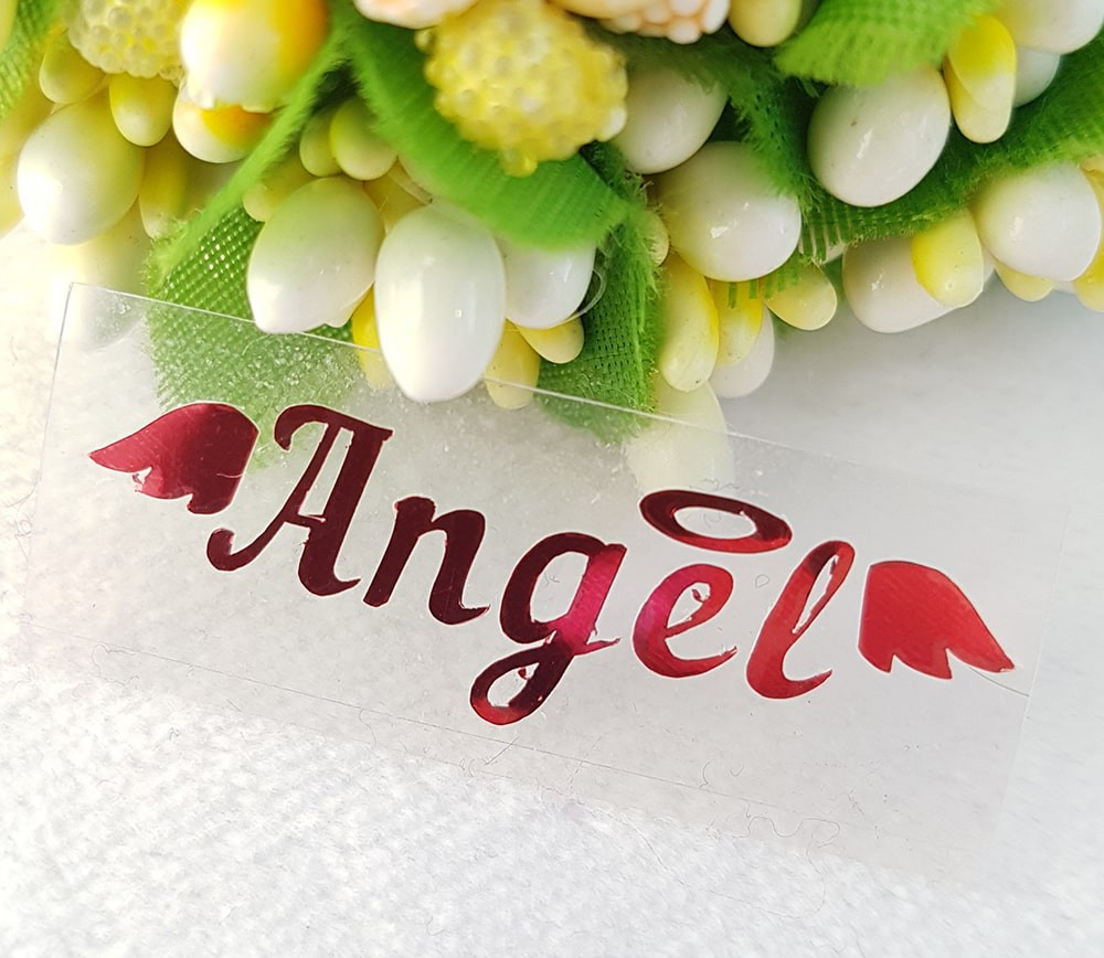 """Надпись """"Ангел"""" термотрансферная наклейка голограмма  3,5*1см/1шт красный металлик"""