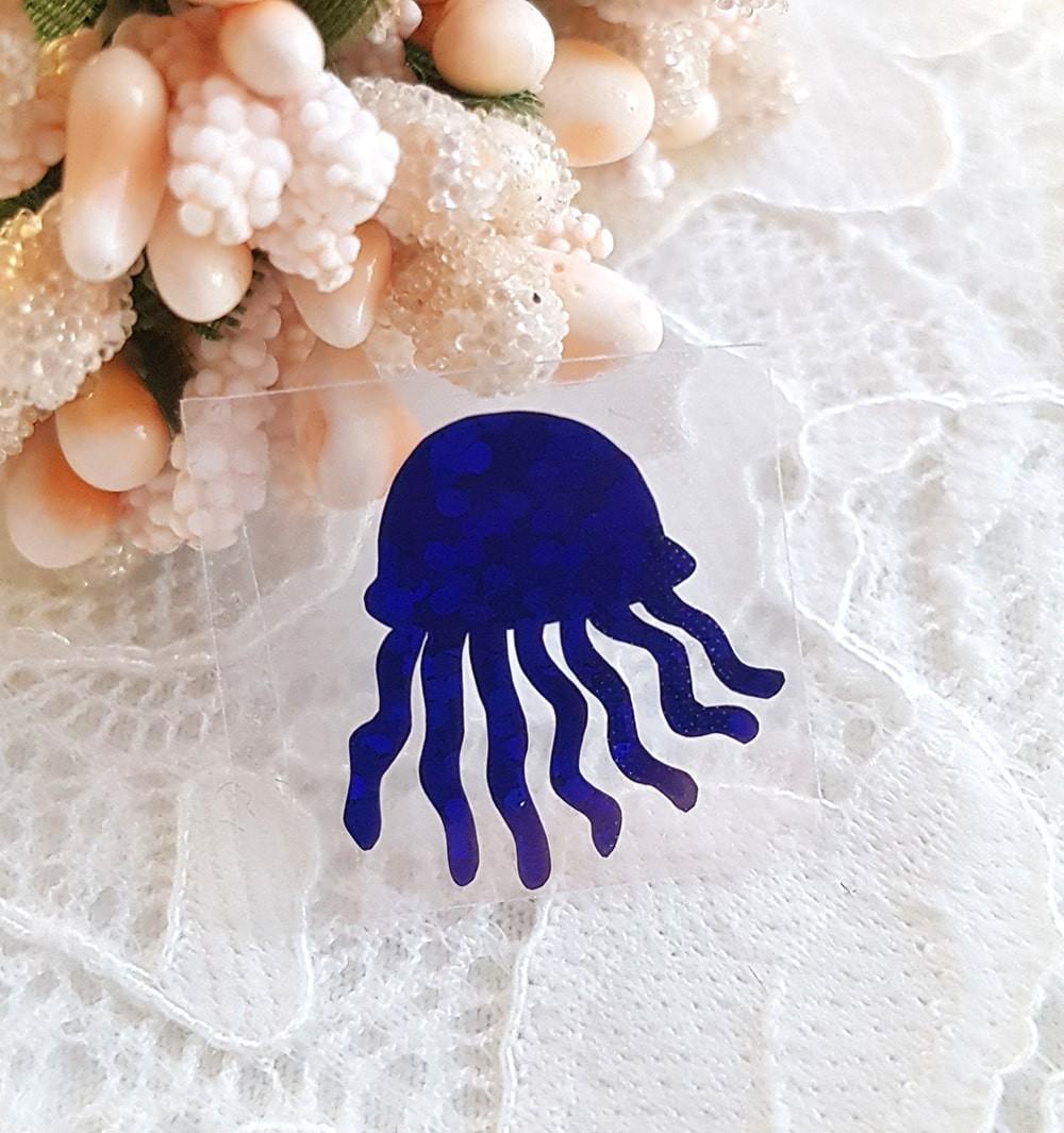 Медуза термотрансферная наклейка синий 1шт 17*18мм