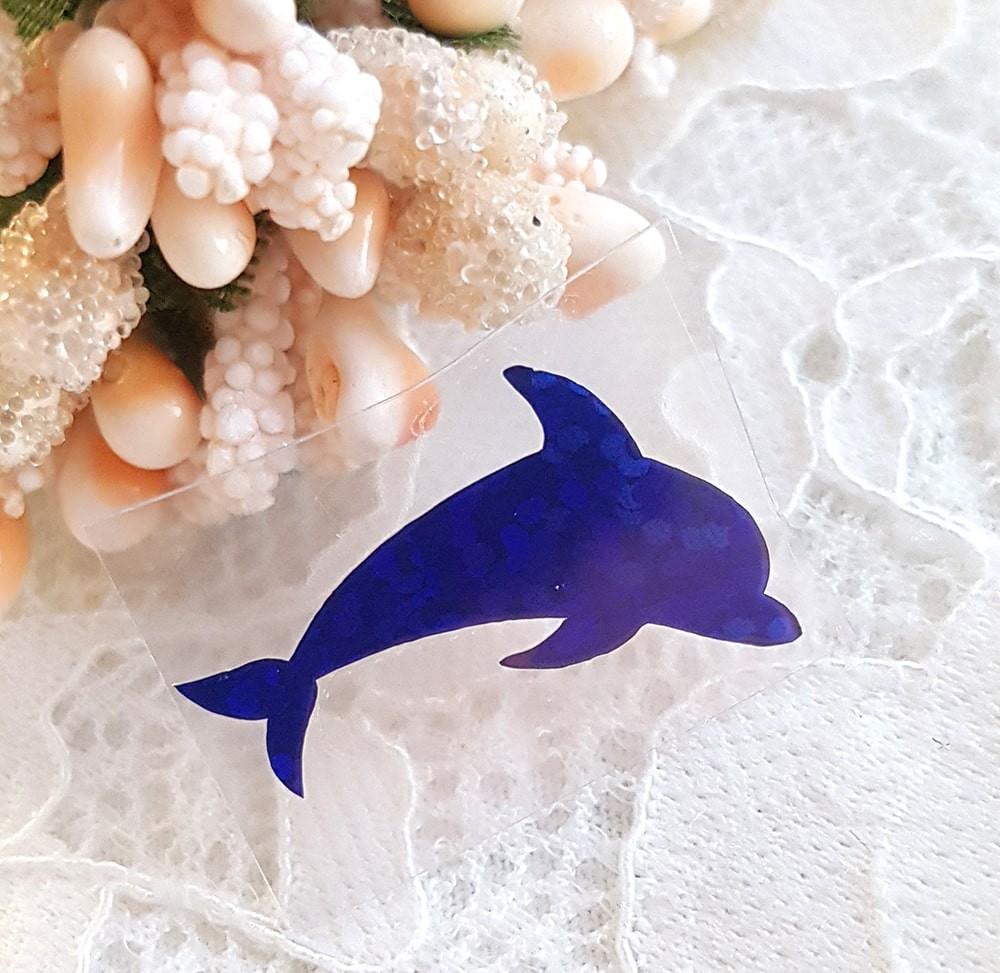 Дельфинчик термотрансферная наклейка синий 1шт 24*18мм