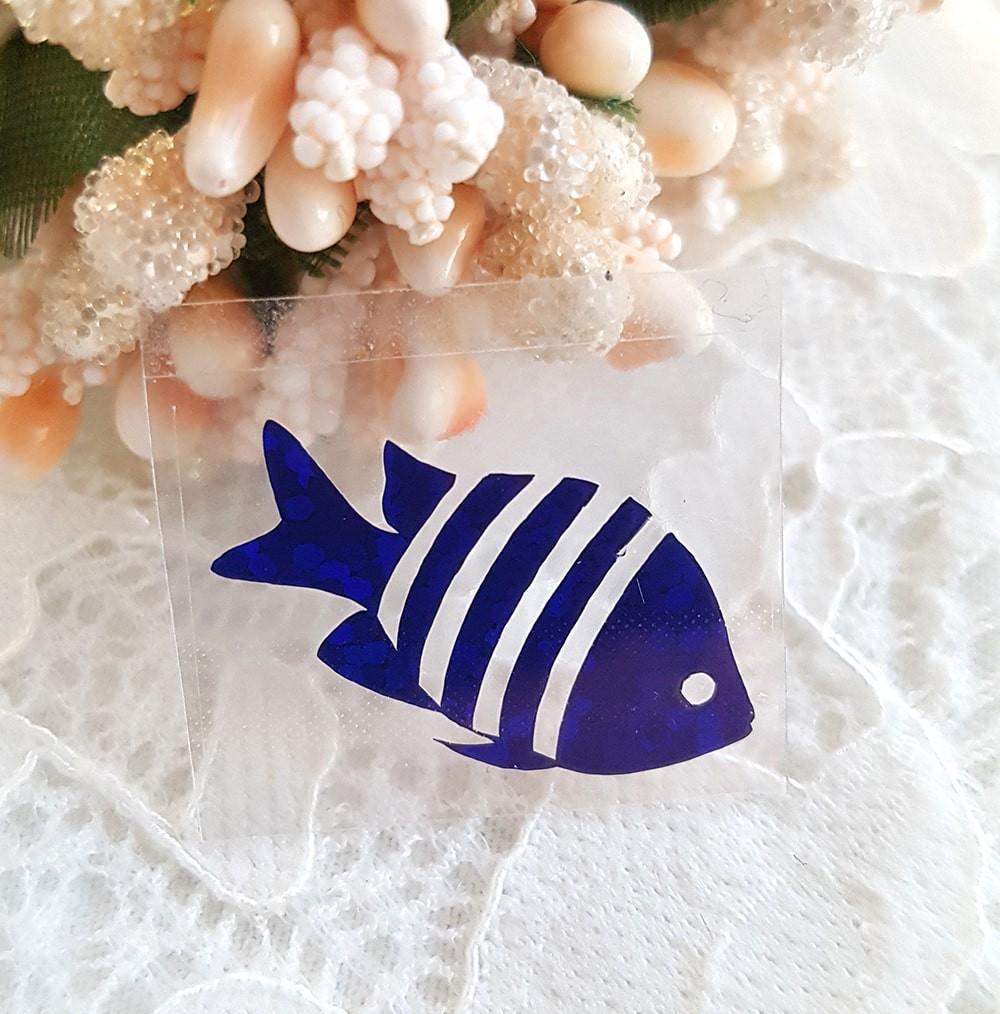 Рыбка термотрансферная наклейка синий 1шт 24*13мм