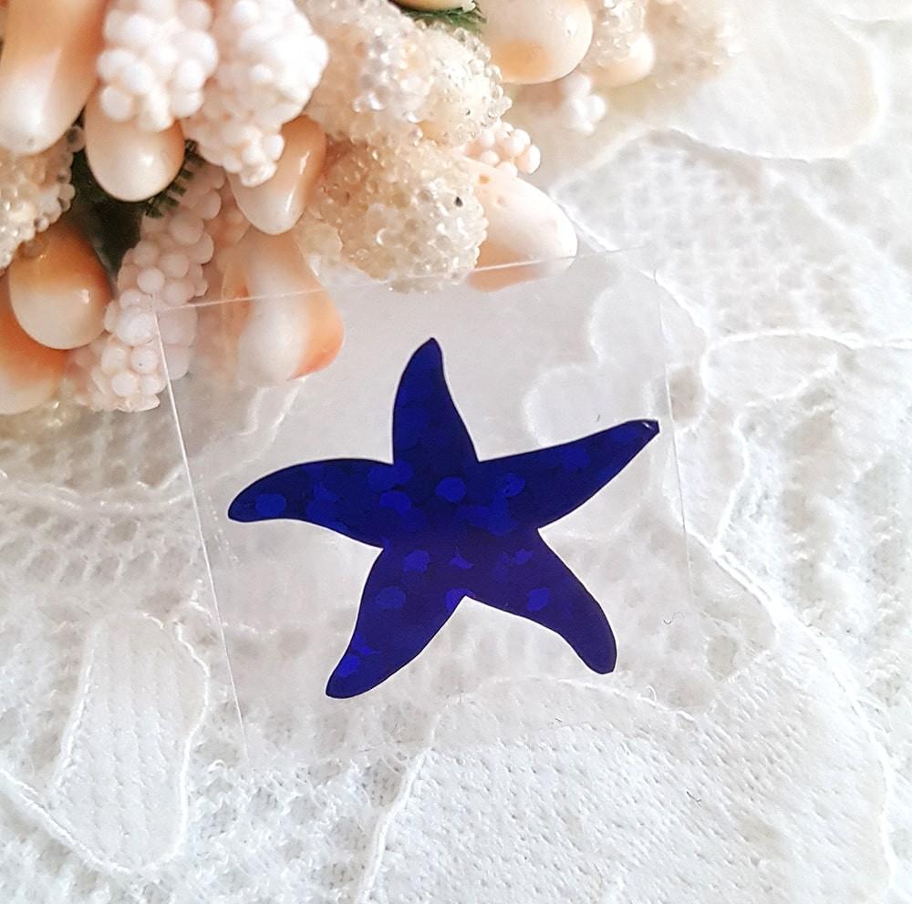 Морская звезда термотрансферная наклейка синий 1шт 13*12мм