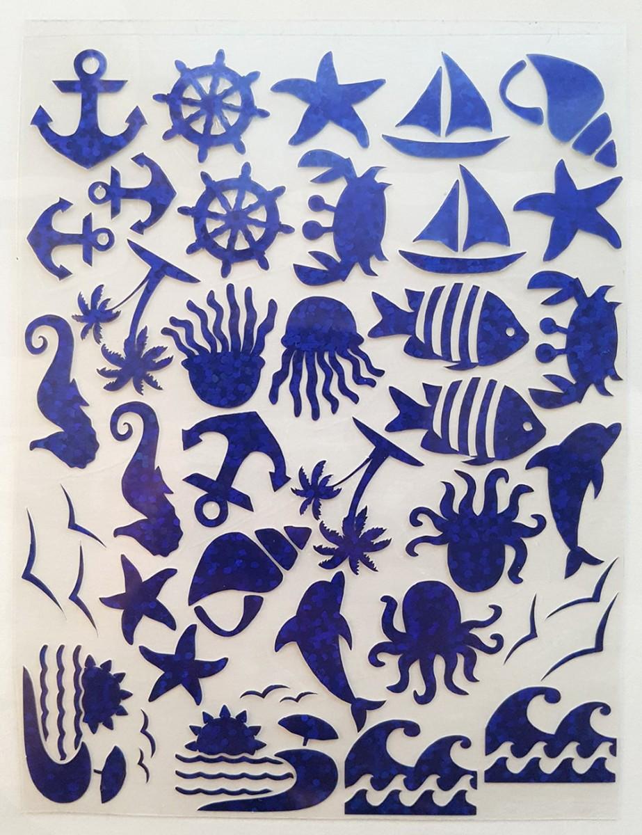 Набор морской термотрансферная наклейка синий