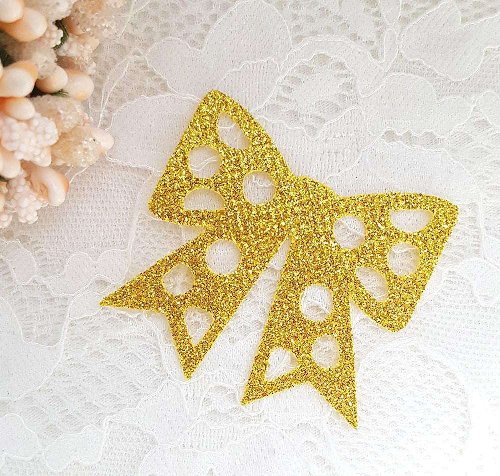 Бантик из тонкого блестящего материала 47*45мм золото