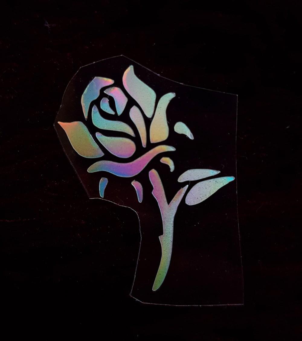 Термотрансфер наклейка роза радужная 2,1*3,3см(другие цвета выбирайте ниже)