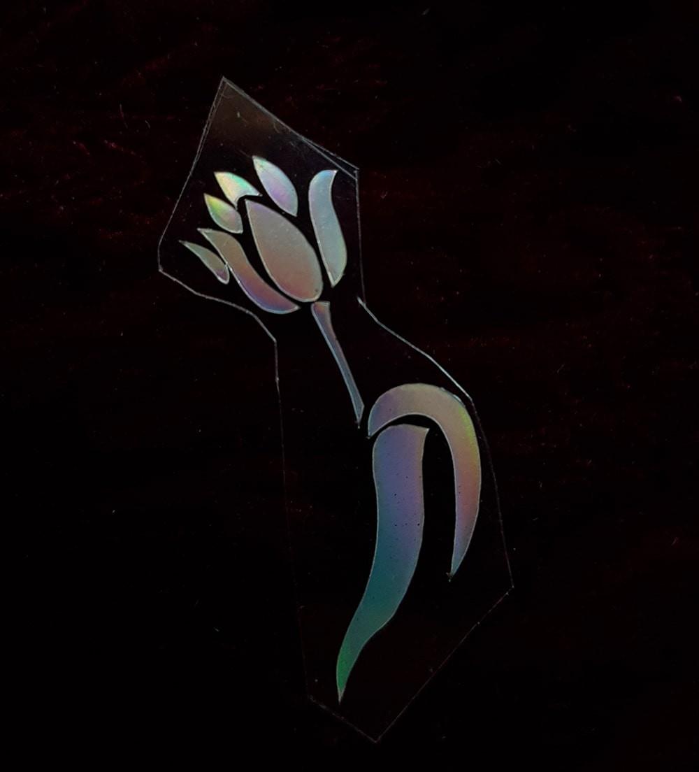 Термотрансфер наклейка цветок радужный 1,4*3,3см (другие цвета выбирайте ниже)