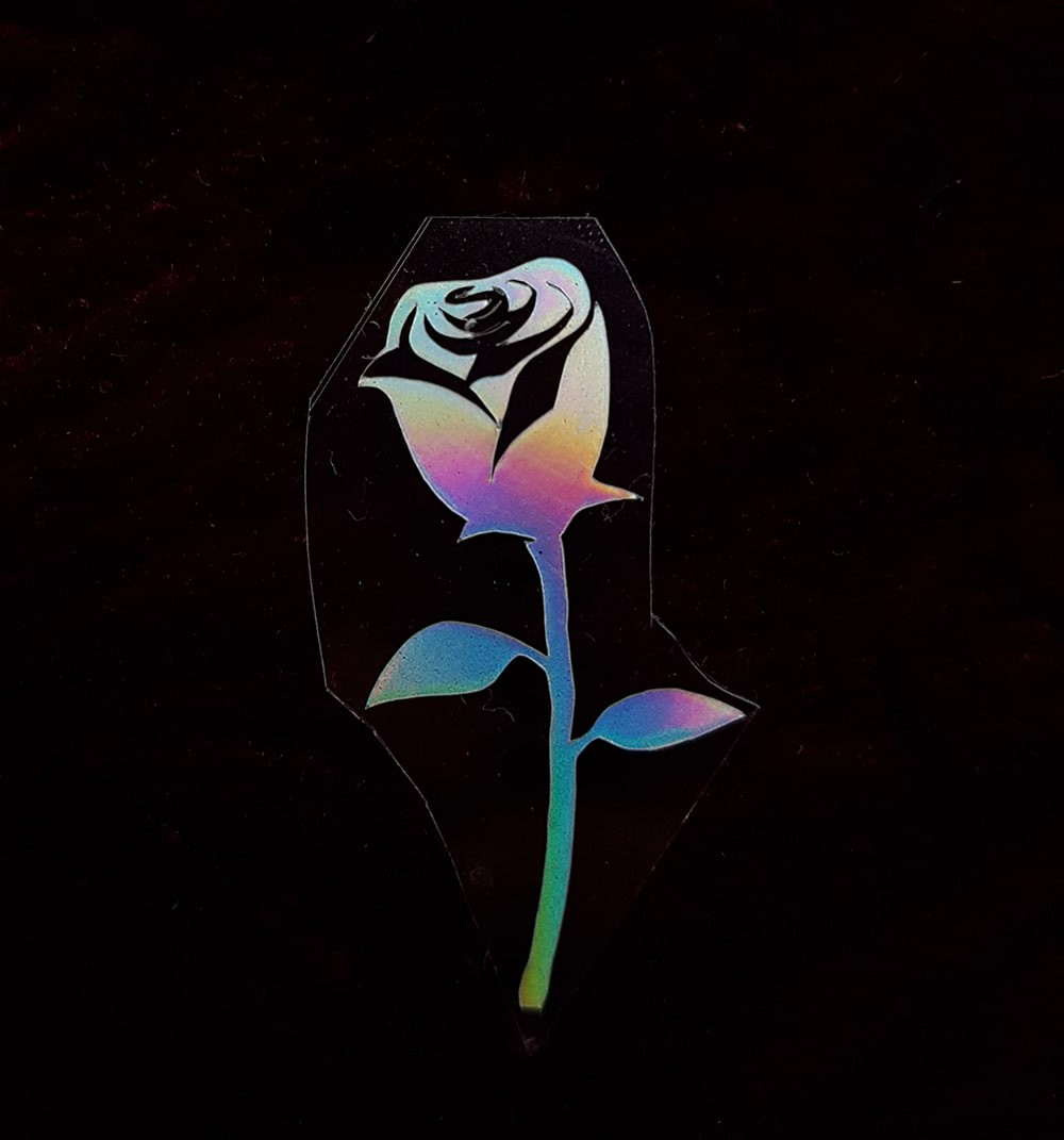 Термотрансфер наклейка роза радужная 2*3см (другие цвета выбирайте ниже)
