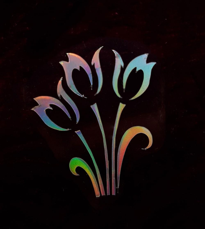 Термотрансфер наклейка цветок радужный 3,1*2,4см (другие цвета выбирайте ниже)