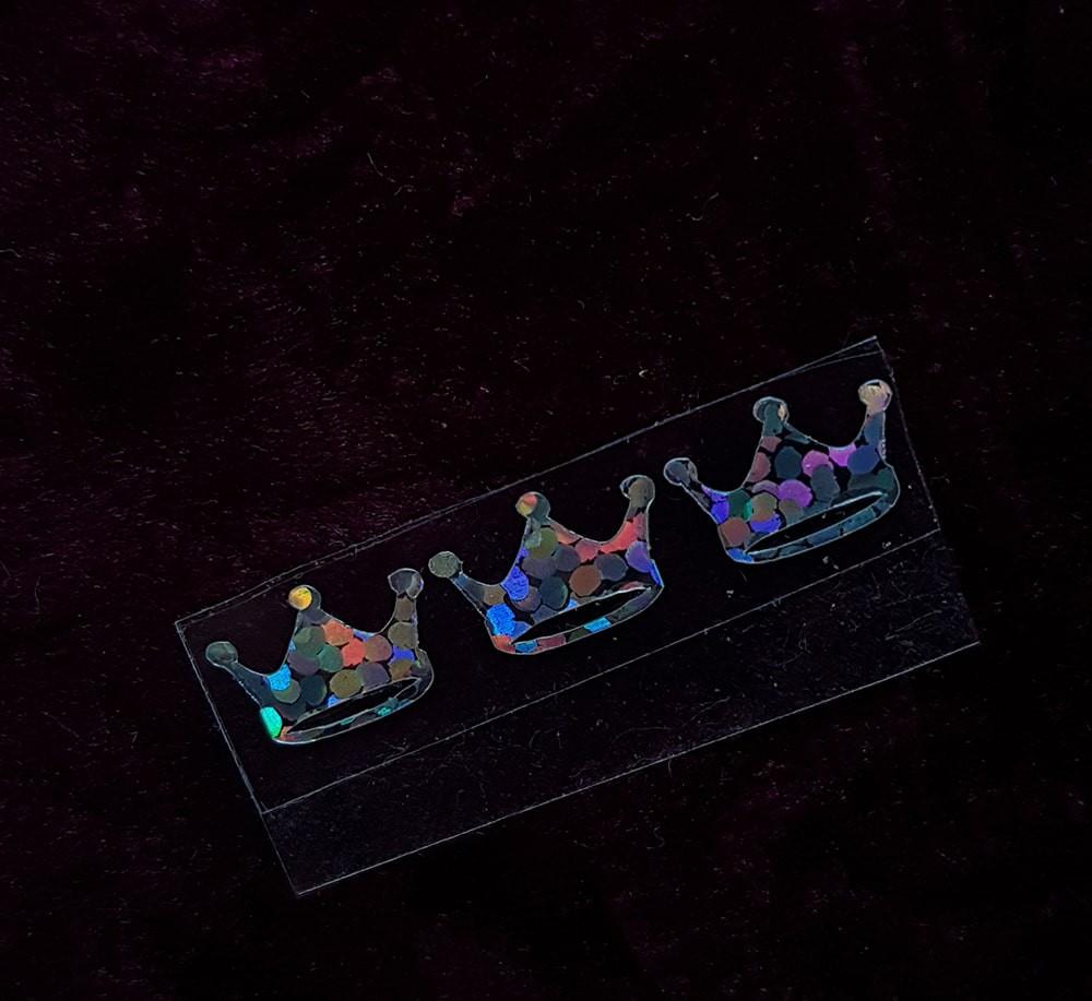 Корона  термотрансфер голограмма серебро 1шт +/-15*10мм