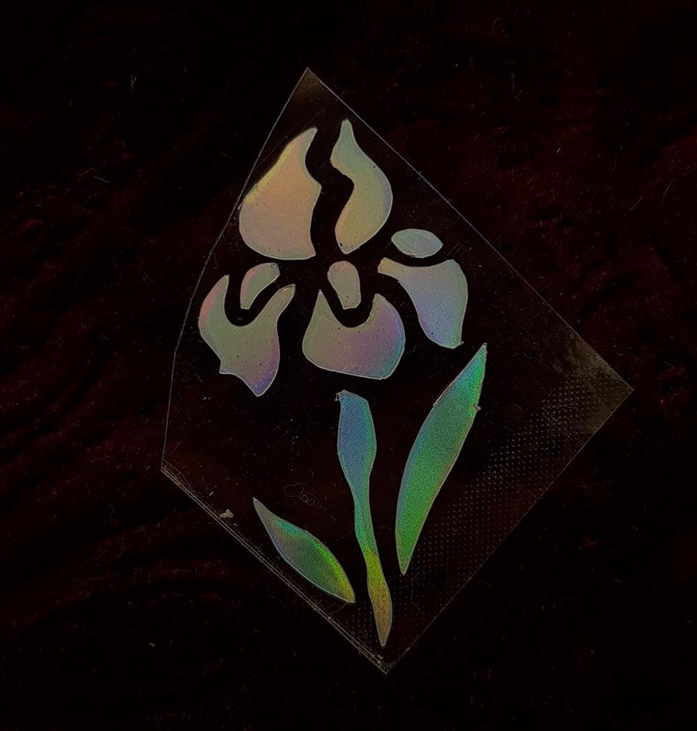 Термотрансфер наклейка цветок радужный 1,8*3,3см (другие цвета выбирайте ниже)