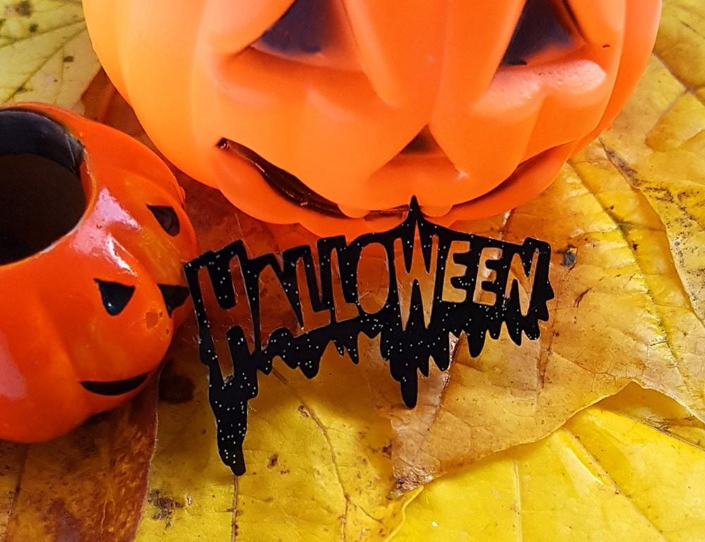 """Надпись """"Halloween"""" из плотного блестящего материала 48*30мм"""