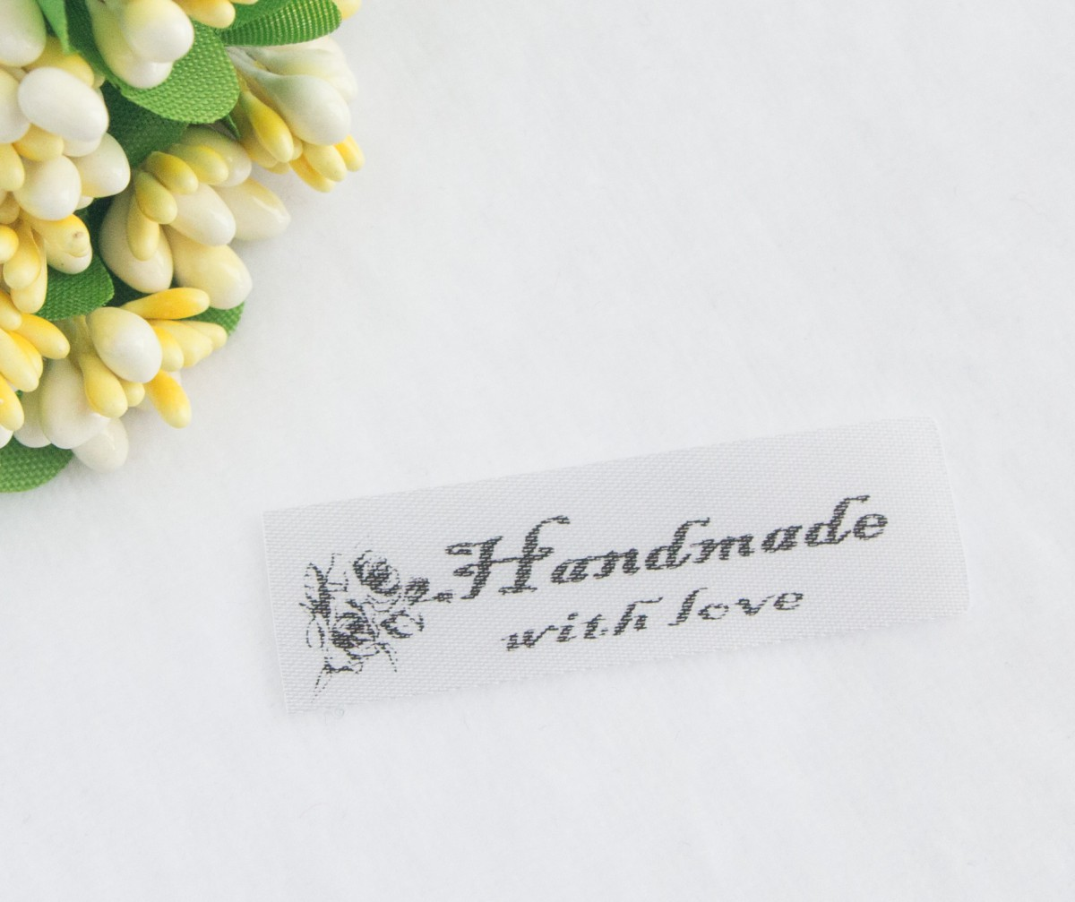 ТОЛЬКО У НАС! Лента сатин Handmade 45*15мм/10шт