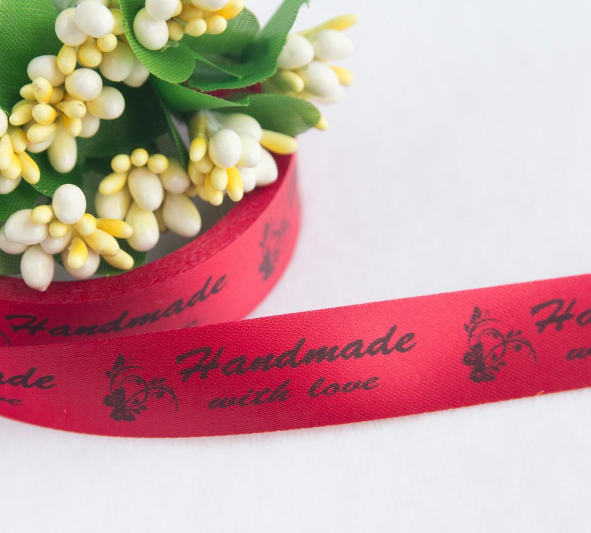 ТОЛЬКО У НАС! Лента сатин красный Handmade 45*15мм/10шт