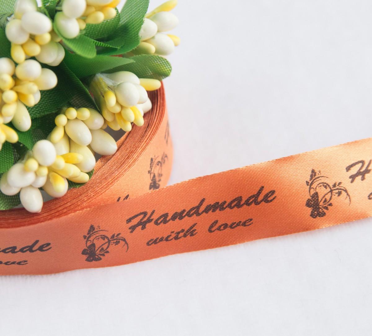 ТОЛЬКО У НАС! Лента сатин оранжевый Handmade 45*15мм/10шт