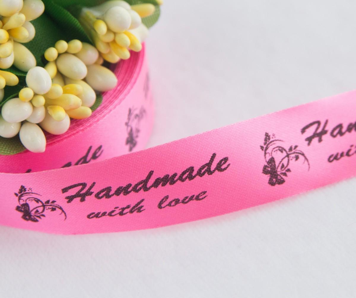 ТОЛЬКО У НАС! Лента сатин светло-розовый Handmade 45*15мм/10шт