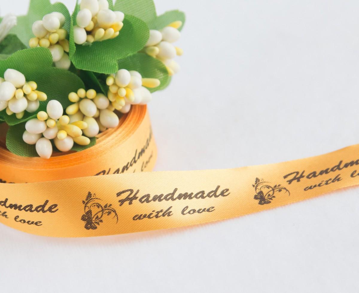 ТОЛЬКО У НАС! Лента сатин желто-золотой Handmade 45*15мм/10шт