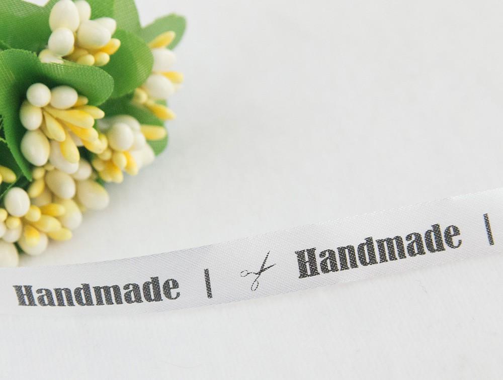 ТОЛЬКО У НАС! Лента сатин белый Handmade 45*10мм/10шт