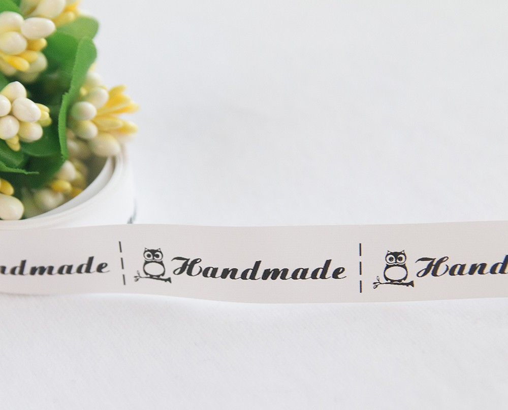 ТОЛЬКО У НАС! Лента нейлон белый Handmade 45*15мм/10шт