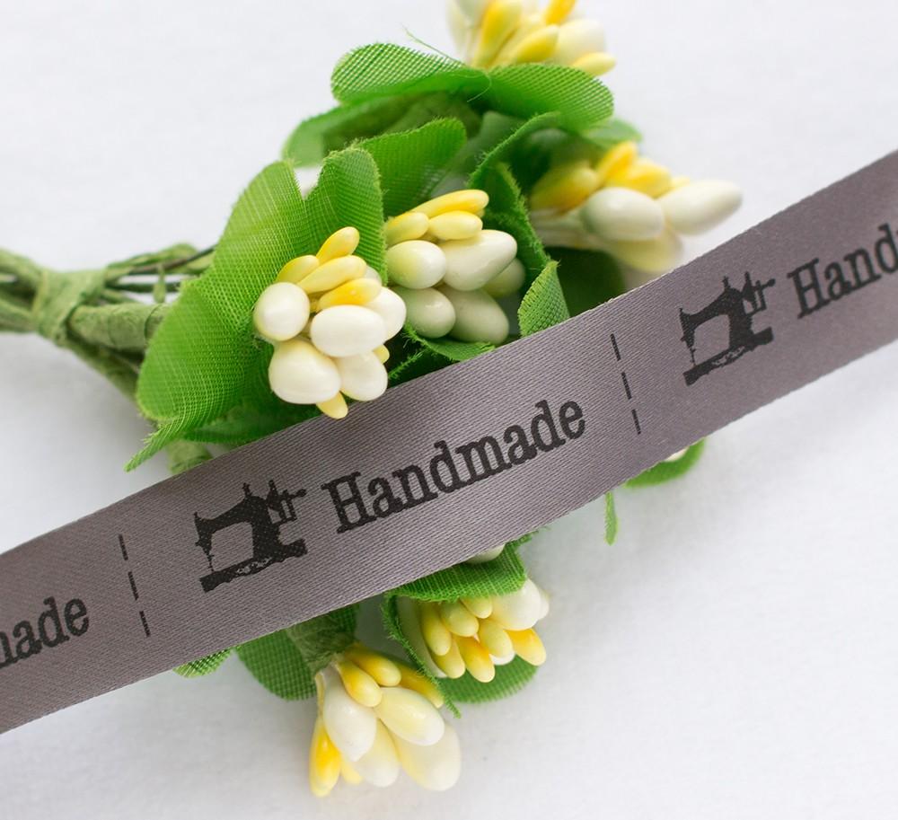 ТОЛЬКО У НАС! Лента сатин Handmade 15*45мм/10шт